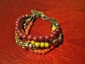 African Krobo beads crafted into a bracelet